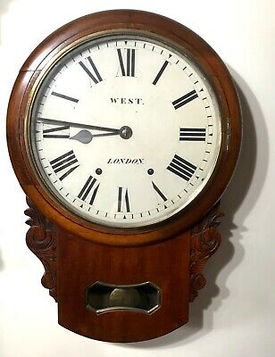 Lovely Antique West London Mahogany Chiming Carved Wall Clock