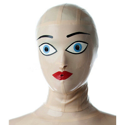 Sexy White Latex Mask Rubber Hood Gummi 0.4mm for Party Wear Catsuit Unique New