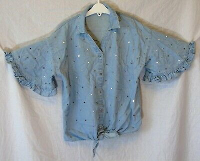 Girls River Island Blue Denim Sequinned Tie Front Blouse Shirt Age 11-12 Years