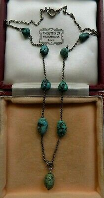 Antique Art Deco Victorian Sterling Silver Genuine Turquoise Necklace
