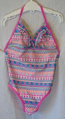 Girls Monsoon Pink Aqua Aztec Floral Swim Suit Swimming Costume Age 3-4 Years