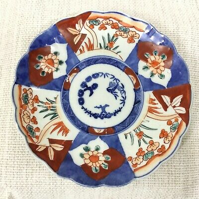 Antique Japanese Porcelain Plate Imari Hand Painted Birds Blue Red White