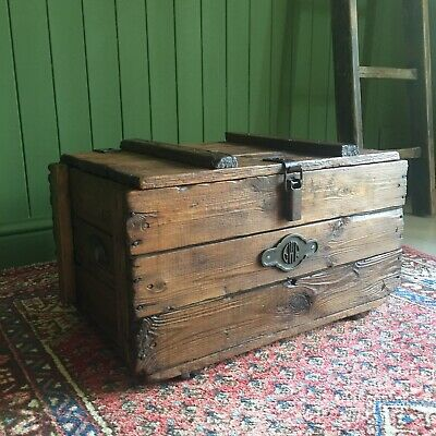 Reclaimed VINTAGE Wooden CHEST Old Storage TRUNK Rustic Industrial GWR Plank BOX