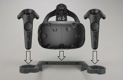 Wall Mount / Bracket For The HTC VIVE Headset and Controller In Grey