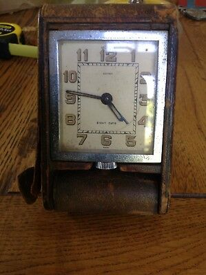 C1920 Art Deco Jaeger Le Coultre Swiss 8 Day Travel Clock Working Leather