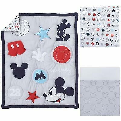 Disney Mickey Mouse Baby Cot Set Quilt Sheet Valance  *NEW*