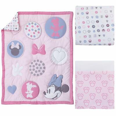 Disney Minnie Mouse Baby Cot Set Quilt Sheet Valance Pretty in Pink *NEW*