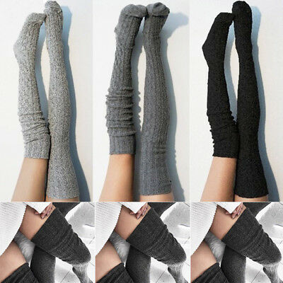 Women Girls Cable Knit Extra Long Boot Socks Over Knee Thigh High Warm Stock FB