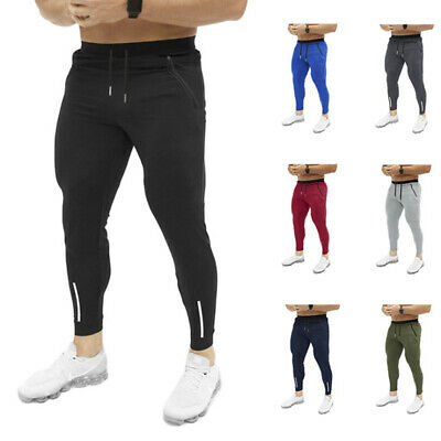 Hot Mens Slim Fit Tracksuit Bottoms Skinny Joggers Sweat Pants Gym Trousers FB