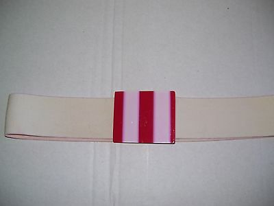 "Women's Elastic Stretchable Belt In 2"" White With Red-White Plastic buckel"