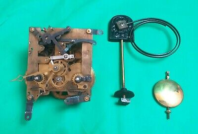 Antique Clock Movement with Clockworks-Pendulum-Hammer-Chime-Hands