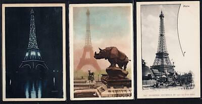 Lot of 3 - Paris c.1900-1923 - Eiffel Tower & Trocadero Statues -Striking images