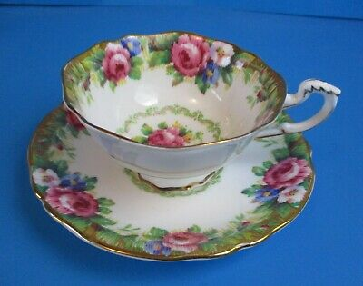 Paragon Cup & Saucer  Tapestry Rose Wide Mouth Excellent Condition