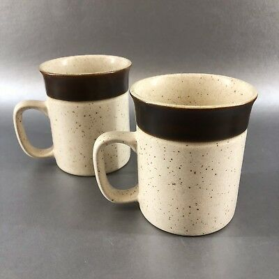 2 Denby Potters Wheel Coffee Mugs Cups Clay Stoneware Vintage