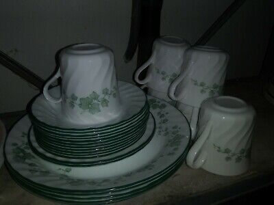 Corelle Set of 24 White Green Leafs Vines Plates Cups CALLAWAY IVY