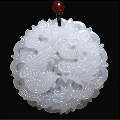 100% Natural Hand-carved Good Luck Chinese Jade-dragon Phoenix Necklace Pendant