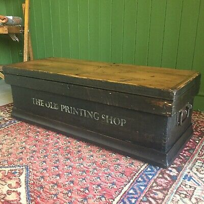 Reclaimed ANTIQUE Wooden CHEST Rustic Storage TRUNK Old Victorian Pine Tool BOX