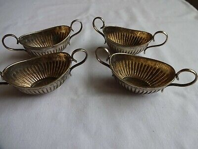 Vintage Silver Plated EPNS twin handled small sauce/mustard pots x 4