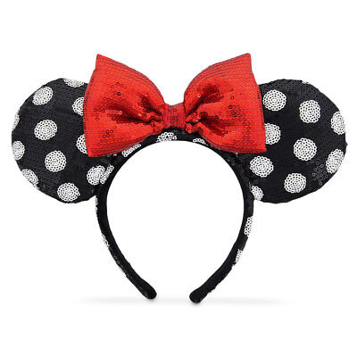 Disney Parks Minnie Mouse Polka Dots Red Sequined Bow Ears Headband