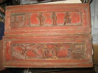 Early 20Th Century Antique Asian Hand Carved Wood Wall Hangings/Japan?/China?