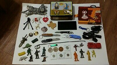 Junk Drawer lot #3, coins, jewelery,electronics,  Knives and More
