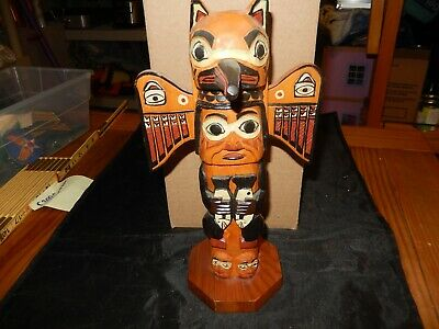 "Patrick Seale Inuit Carved Fog Woman Totem Sculpture Signed  11""  Alaska sticker"