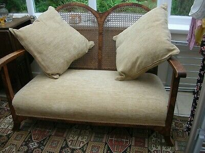 Genuine Antique Cane Backed Suite Settee and Two Chairs