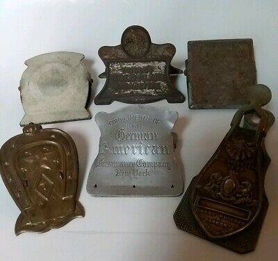 Lot Of 6 Assorted Antique/Vintage Advertising Metal Paper Clips Letter Holders