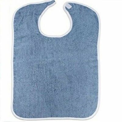 3 pc new adult terry cloth bibs w/ washable felt sticky easy closures blue
