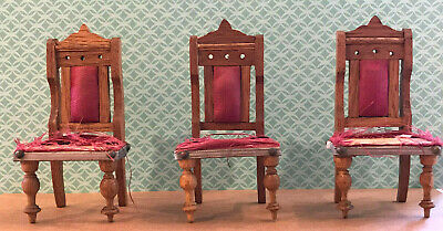 Schneegas Chairs Dollhouse German Antique Wood Dining or Parlor Chair - Set of 3