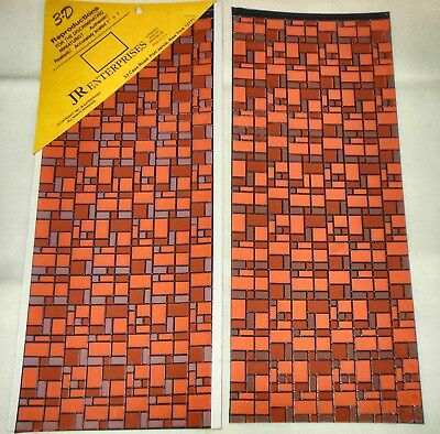 "2 PATIO TILES 3D EMBOSSED BY JR ENTERPRISE #210 6/"" X 15/""  DOLLHOUSE FURNITURE"