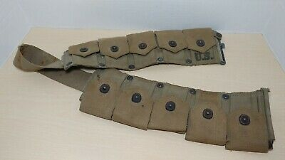 WWII US Garand 10 Pouch Ammo Ammunition Belt 1942 - DM Shoe Co