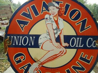 Old 1959  Union Oil Aviation Porcelain Gas Service Station Pump Sign
