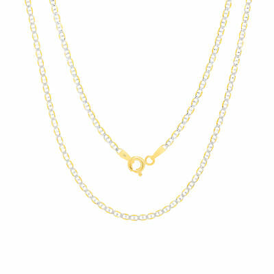 """10K Yellow Gold Solid 2mm White Pave Diamond Cut Mariner Link Chain Necklace 26"""""""