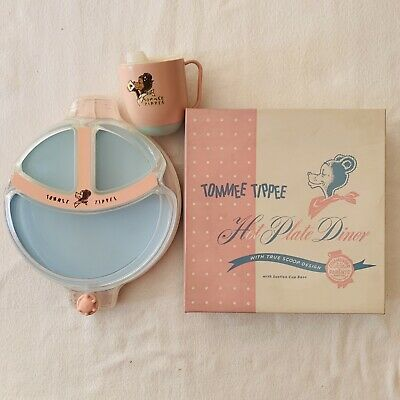Vintage Tommee Tippee Hot Plate Dinner Dish And Sippy Cup