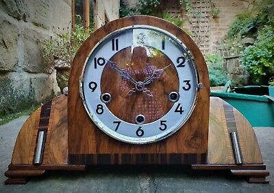 A Superb 1930S Art Deco Mantel Clock - Westminster Chimes - Enfield Movement Vgc