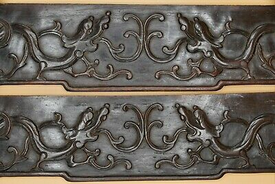 ANTIQUE Chinese Dragon HONGMU Wooden Fine RARE PANELS Reclaimed PAIR Hand Carved