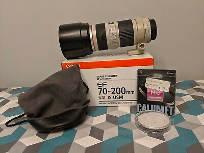 Canon EF 70-200mm F/4 L IS USM Lens Boxed + Extras