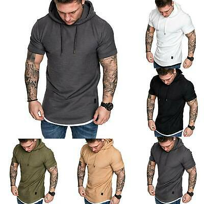 Men Sleeveless T-Shirts Gym Vests Pullover Hoody Hooded Tank Tops Muscle Clothes