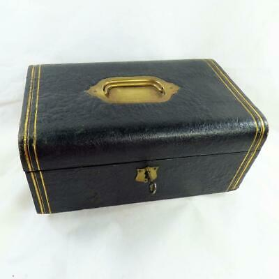 ANTIQUE LEATHER Box with Key  VINTAGE JEWELLERY / DESK TOP