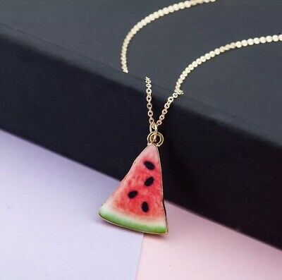 Cute Fruit Watermelon Double-layered Pendant Necklace Thermal Transfer Jewelry