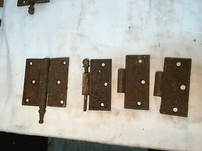 Pair Victorian Antique Cast Iron Ornate Steeple Tip Door Hinges 3.5 x 3.5 Parts