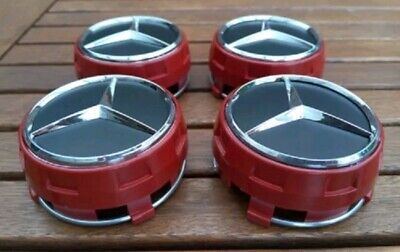RED AMG BIG Mercedes Benz Alloy Wheel Set Of 4 New Style Centre Caps 75mm Badges