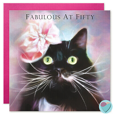 50th Birthday Card Friend Glamorous Tuxedo Black Cat Lover FABULOUS AT FIFTY