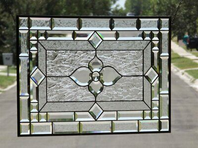 """Elegance In Motion-Beveled Stained Glass Window Panel 28 1/2"""" x 18 1/2"""""""