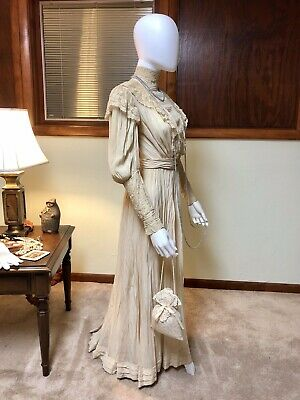 Antique Edwardian Dress Early 1900s Silk Crepe Lace