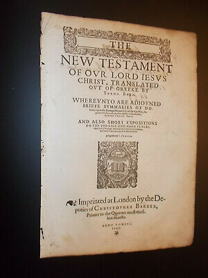 RARE-1597 Geneva-Bible-New Testament Title Page-London-Small Folio-Barker
