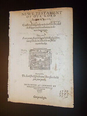 RARE-1577 Geneva-Bible-New Testament Title Page-London-Small Folio-Barker