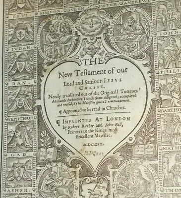 RARE-1630 KJV-SHE Bible-New Testament Title Page-Barker and Bill-Rare