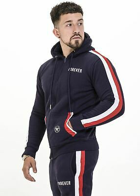 MENS FOREVER FAITHLESS NAVY TRACKSUIT HOODY MUSCLE SILK HERA GYM SINNERS GFN